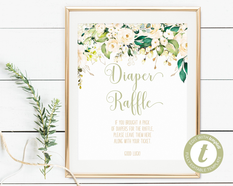 photo regarding Diaper Raffle Printable named Printable White Floral Diaper Raffle Indication