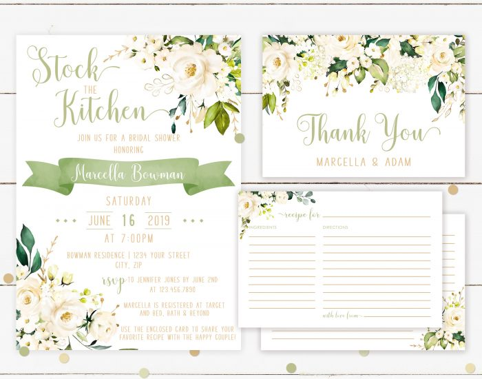 Printable White Floral Stock the Kitchen Invitation Bundle