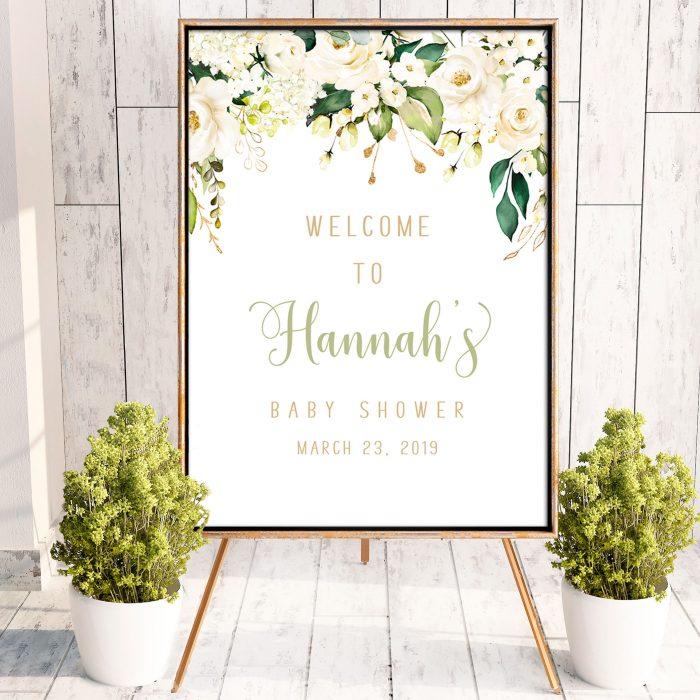 Printable White Floral Poster