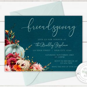 Printable Teal Pumpkins Friendsgiving Invitation