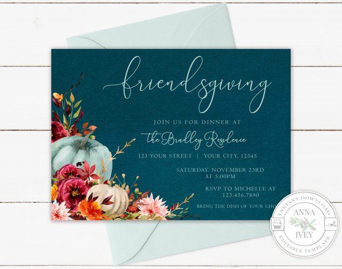 Printable Teal Pumpkins Friendsgiving Invitation