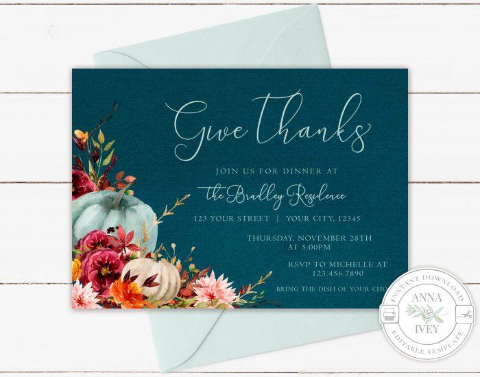 Printable Teal Pumpkins Give Thanks Invitation