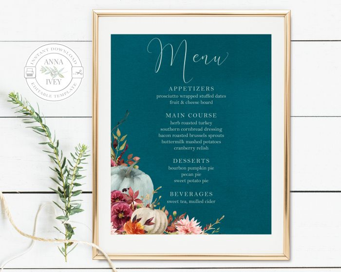 Printable Teal Pumpkins Menu Sign