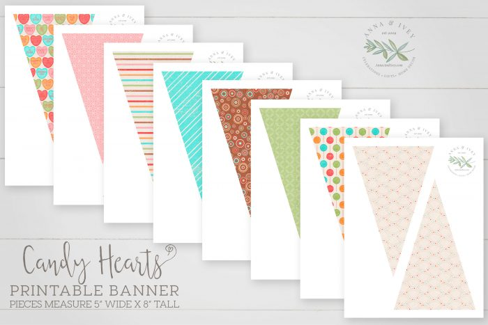 Printable Candy Hearts Valentine Banner