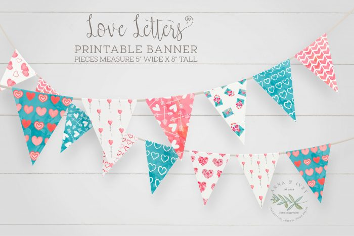 Printable Love Letters Valentine Banner