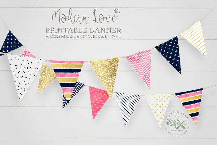 Printable Modern Love Valentine Banner