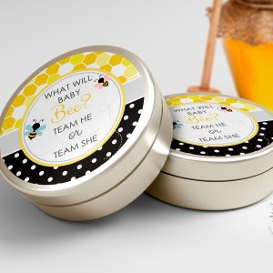 Printable Bumble Bee Round Labels/Tags- Honeycomb & Dots- 3″ Inch