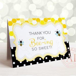 Printable Bumble Bee Thank You Card- Honeycomb & Dots