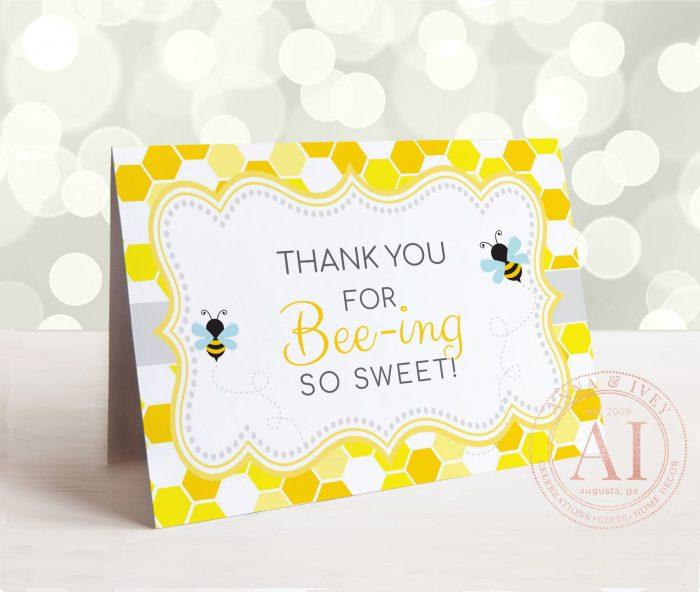 Printable Bumble Bee Thank You Card- Honeycomb