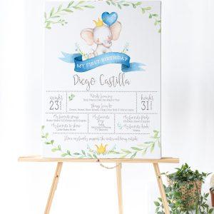 Printable Little Elephant Milestone Poster- Blue