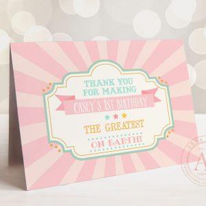 Printable Pink Circus/Carnival Thank You Card